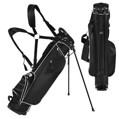 Golf Stand Cart Bag Club w 4 Way Divider Carry Organizer Pockets Storage  Black 3aefa909dac8b