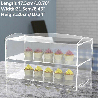 2 Layer Acrylic Bakery Cupcakes Pastry Display Case Stand Cabinet Cakes Donuts