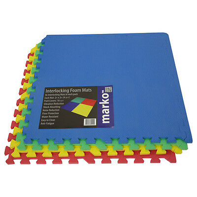 32 SQ FT Interlocking EVA Soft Foam Exercise Floor Mats Play Area Multicoloured