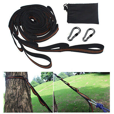 2X Adjustable Tree Hanging Hammock Straps Heavy Duty Suspension Extension Straps