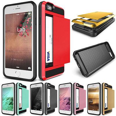 Wallet Credit Card Pocket Holder Case Hard Cover For iPhone 5 5s SE 6 6s 7 Plus