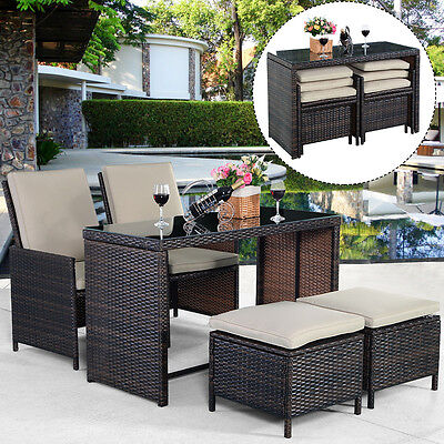 New 5PCS Brown Cushioned Ottoman Rattan Patio Set Outdoor Furniture Garden