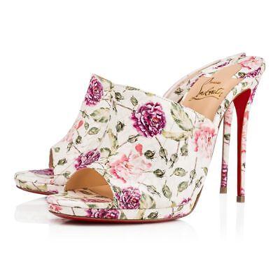 NIB Christian Louboutin Pigamule 120 White Pink Floral Mule Sandal Heel Pump 42