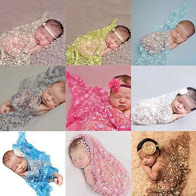 Neugeborenen Baby Wrap Pucktuch Stirnband Spitze Fotoshooting Fotografie Kostüm