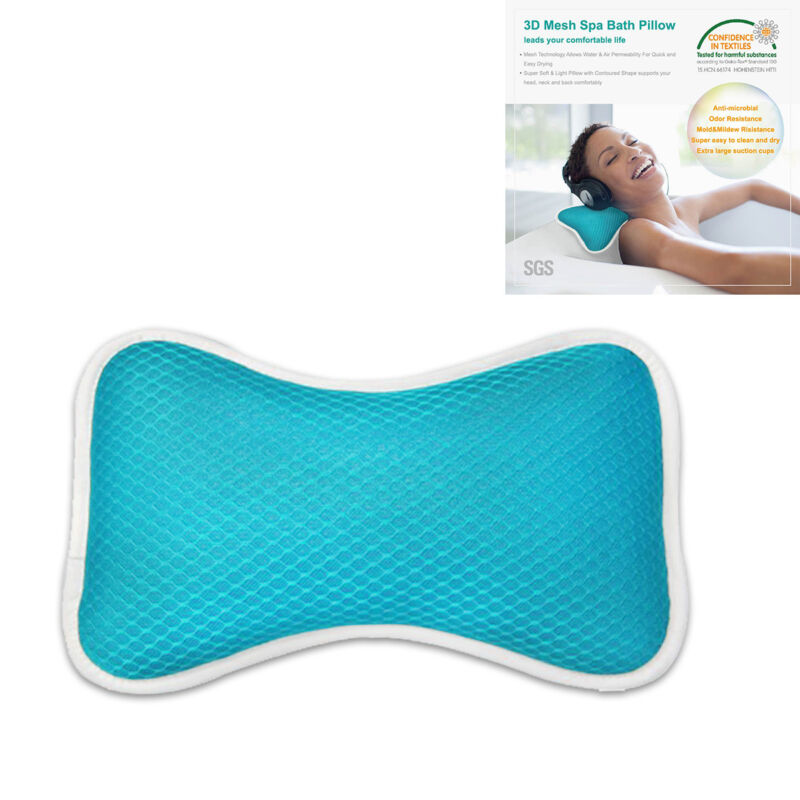 Luxury Bath Pillows Home Spa Head & Neck Pillow with 2 Large Suction ...