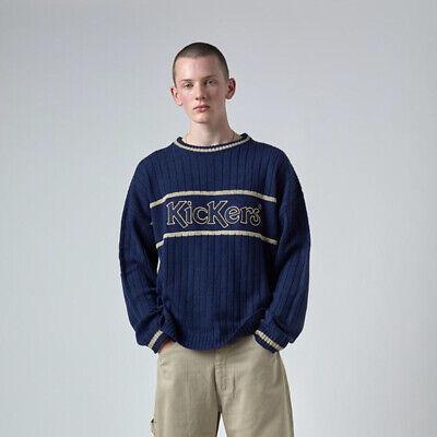 Mens Kickers Large Logo Wide Rib Knitted Navy Jumper (KA2) £59.99