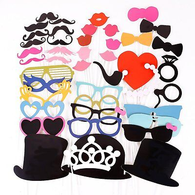 44PCS Colorful Props On A Stick Mustache Photo Booth Party Fun Wedding Favor - Fun Photo Props