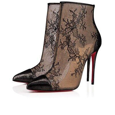 NIB Christian Louboutin Gipsybootie SPC 100 Black Lace Mesh Ankle Heel Boot 42