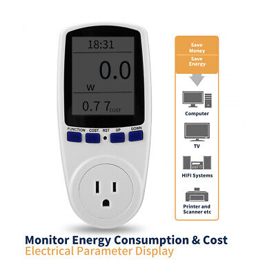 Digital Outlet Power Saving Meter Energy Monitor Volt Watt Voltage Amps Analyzer