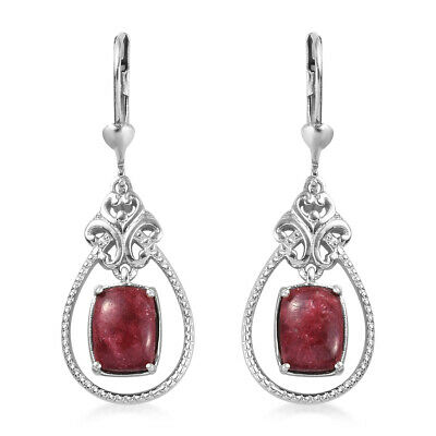 925 Sterling Silver Platinum Plated Thulite Dangle Drop Earrings Jewelry Ct 3.8