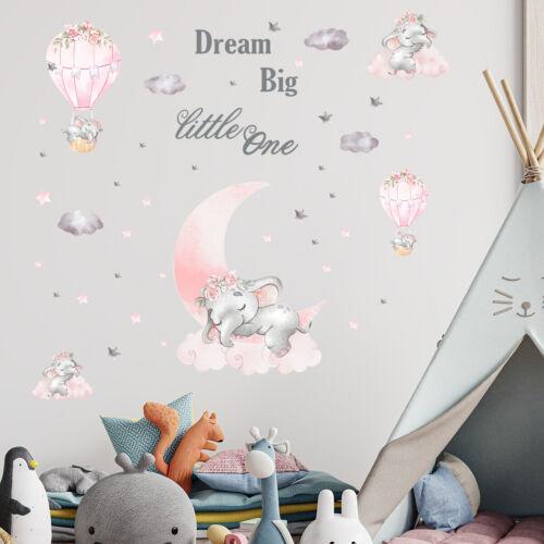 Cartoon Elephant Hot Air Balloon Wall Decal Nursery Baby Room Decor Art Sticker