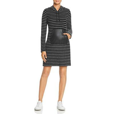 Robert Michaels Womens Hooded Faux-Leather Stripe Sweaterdress BHFO 3481