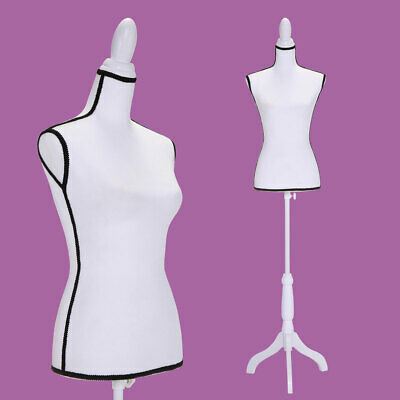 Adjustable Female Mannequin Torso Dress Clothing Form Display White Tripod Stand