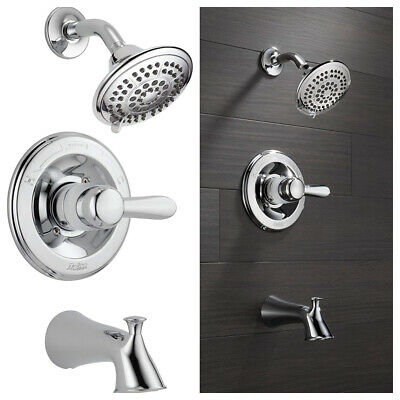 Delta Tub and Shower Trim Kit Chrome with 5-Spray Shower Head Lahara 14 Series
