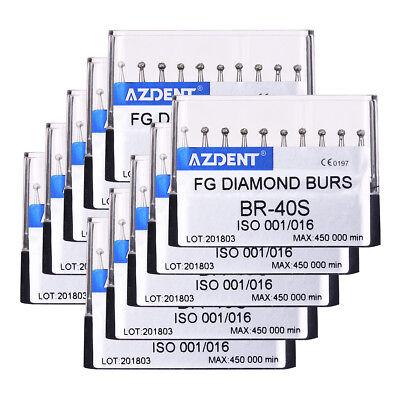 200pcs Dental Ball Shape Diamond Burs Br-40s High Speed Handpiece Azdent
