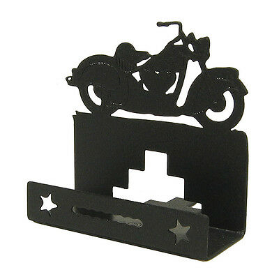 Classic Motorcycle Black Metal Business Card Holder