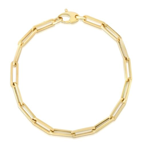 14kt Yellow Gold Lite PAPERCLIP Link Chain Bracelet/Anklet 10 Inch  3.3MM
