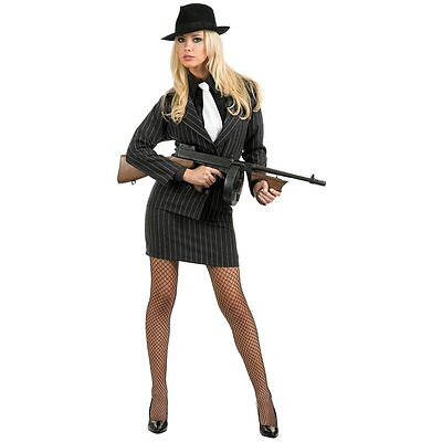 Gangster Moll Charades Female Gangster Costume Womens Costume Jacket & Skirt - Female Gangster Costumes