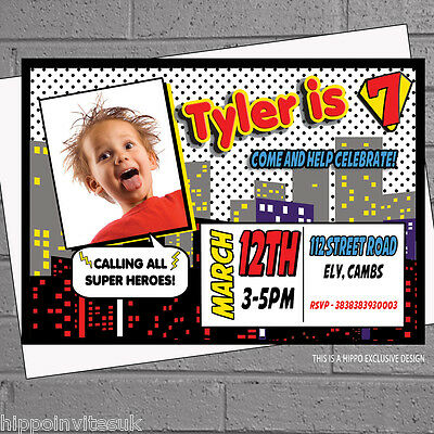Superhero Birthday Party Invitations Personalised Boys Photo x 12 +envs H0107](Superhero Party Invitations)