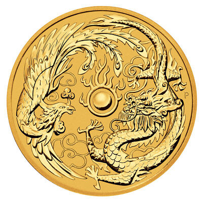 2018 Australia 1 Oz Gold Dragon   Phoenix  100 Coin Bu Coin Sku50369