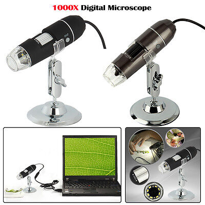 1000x8 Led Usb 2.0 Digital Microscope Endoscope Zoom Camera Magnifier Stand 2mp