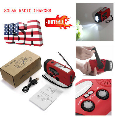Emergency Solar Hand Crank Dynamo AM/FM/WB Radio LED Flashlight Phone Charger US