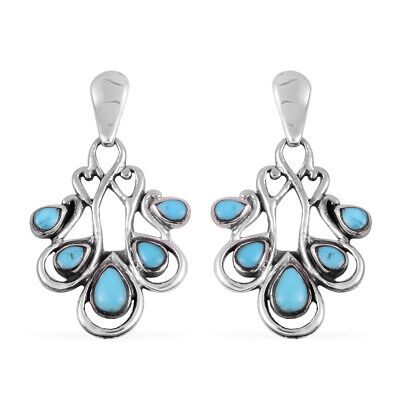 Southwest Dangle Drop Earrings 925 Sterling Silver Turquoise Jewelry for Women