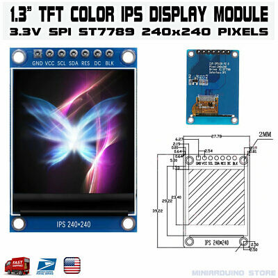 1.3 Inch Color Ips Tft Lcd Display Screen Module St7789 7 Pin 4 Wire Spi Port