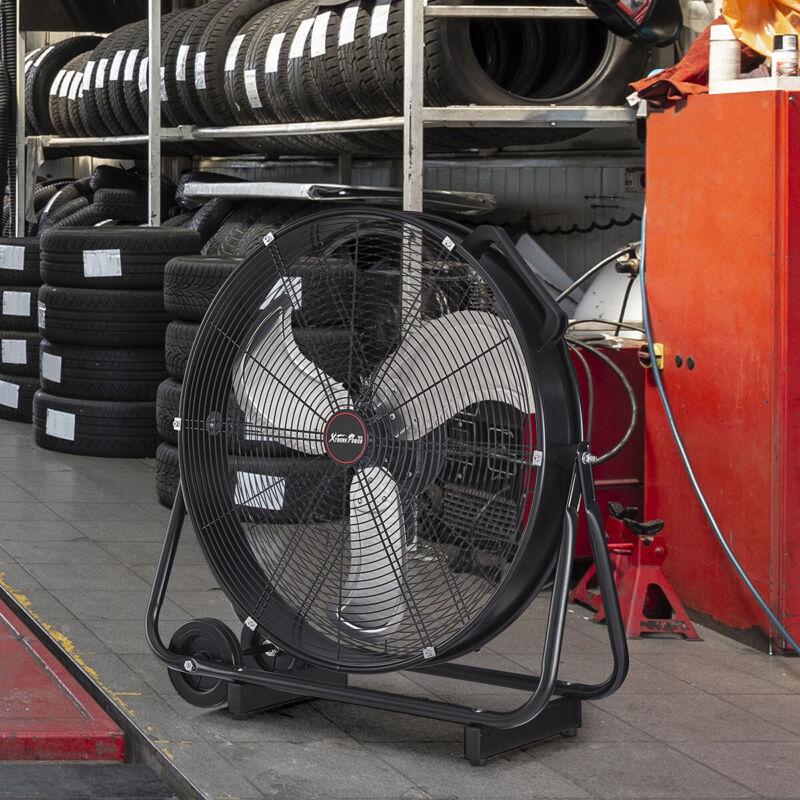 "24"" Commercial Rolling Drum Warehouse Floor Fan Shop 3 Adjustable Speed Black"