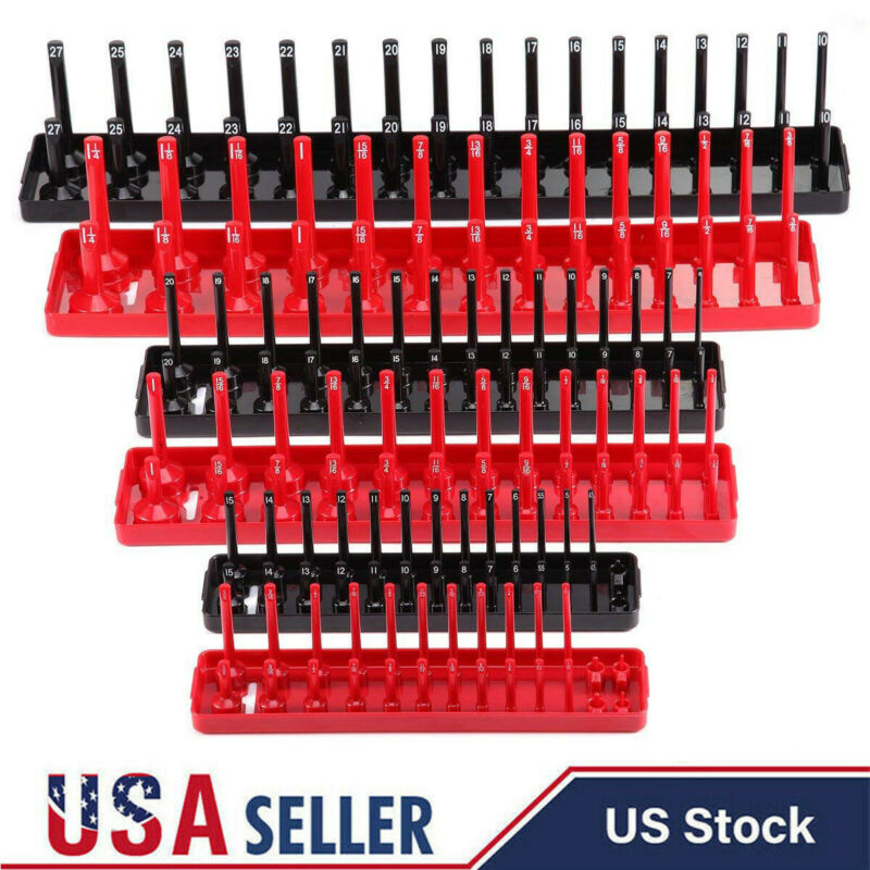 "Socket Organizer Tray Rack Storage Holder Tool Metric SAE 1//4/"" 3//8/"" 1//2/"" 6 pc"