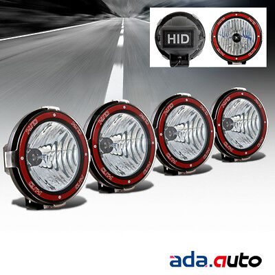 "4X 7"" HID Off Road Lights Flood Fog Driving Lamps Mount On Grille/Bull Bar/Roof"