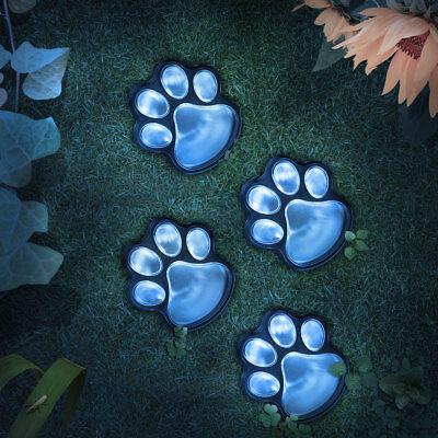 - 4-Solar Dog Animal Paw Print Lights Garden Statue Lantern LED Path 3'' Lamp US