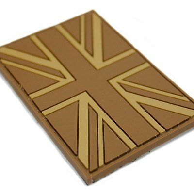 PVC Velcro Backed Union Jack Flag Military Army Tactical Patch Badge Coyote Tan