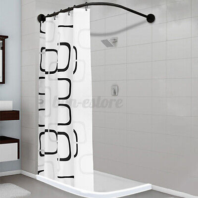 "L Shape Stainless Steel Shower Curtain Rod Adjustable 35""-51"" Home & Garden"