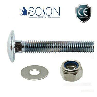 M6 M8 M10 BZP CUP SQUARE CARRIAGE BOLT COACH SCREW, WASHER + NYLOC NUT NYLON