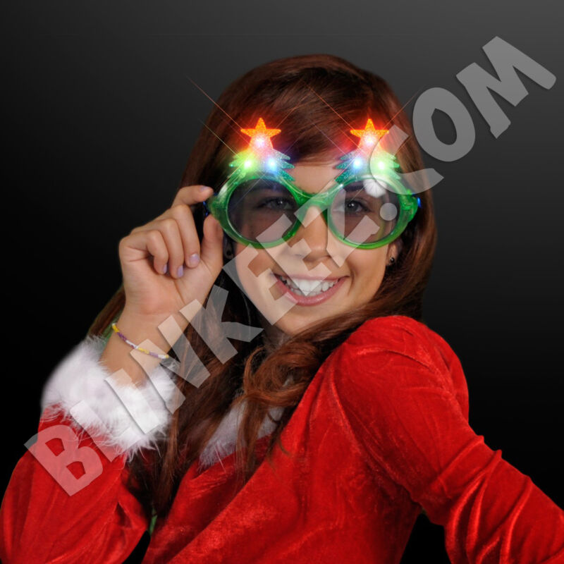 LED Light Up Flashing Christmas Tree Glasses Shades Party Favors Holiday Fun~