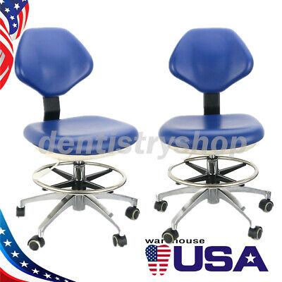 2dentist Adjustable Stool Hydraulic Rolling Chair Pu Leather Backrest Blue