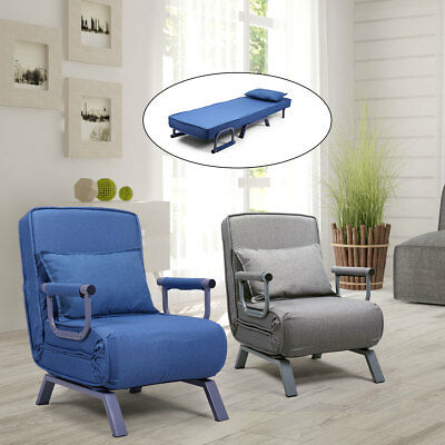 Convertible Sofa Bed Sleeper Couch Chaise Lounge Chair Padded Pillow Blue/Gray ()