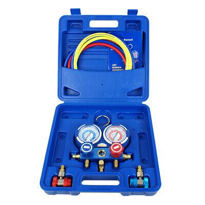 3 Way Manifold Vacuum Gauge Set R134a R410a R22 A/C AC HVAC Refrigeration KIT ()