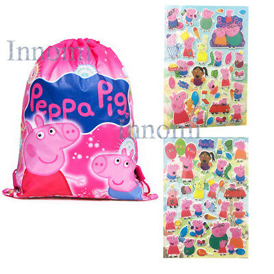 Peppa Pig Drawstrings Storage Carrying Bag With 2 Sets Peppa Pig Stickers