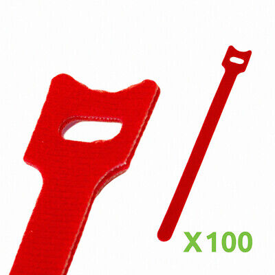 6 Inch Hook And Loop Reusable Strap Cable Cord Wire Ties 100 Pack Red