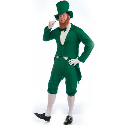 Leprechaun Costume Adult Mens St Patricks Day Paddys Green White Halloween - Mens Leprechaun Halloween Costume