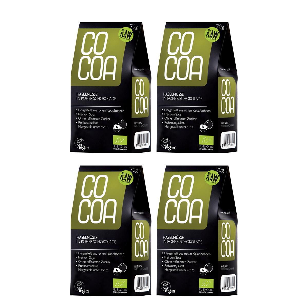 Raw Cocoa Bio Schokonüsse Haselnüsse in Roher Schokolade, 4 x 70 g, Ungeröstet