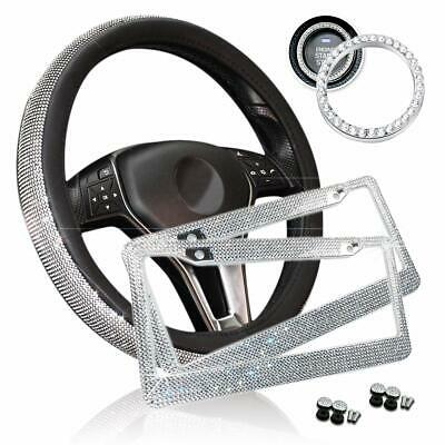Zone Tech Car Bling Set Steering Wheel Cover License Plate Frame Ring Sticker Cover Plate Set
