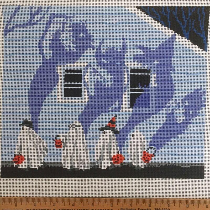 Scott Church Hand painted Needlepoint Canvas Candy Monster children Halloween