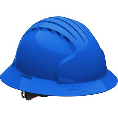Jsp Vented Full Brim Hard Hat With 6 Point Ratchet Suspension Blue