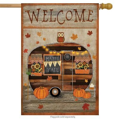 "Fall Camper Welcome House Flag Primitive Owl Pumpkins 28"" x"