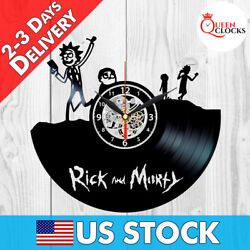 Rick and Morty TV Series Vinyl Record Wall Clock Kids Birthday Gift Room Decor