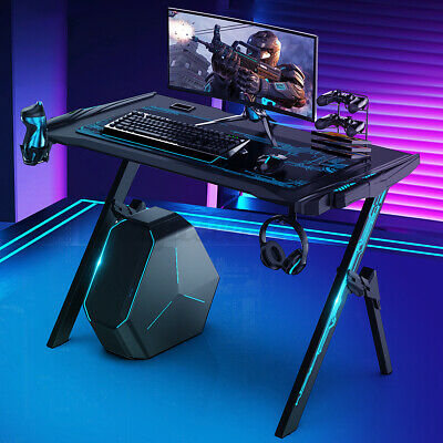 43.3 Inch Carbon Fiber Surface Gaming Desk W Audio Sensor Rgb Light Cup Holder