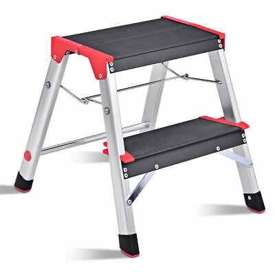 2 Step Aluminum Lightweight Ladder Folding Non-Slip Platform Stool 330Lbs Load 2 Step Ladder Stool
